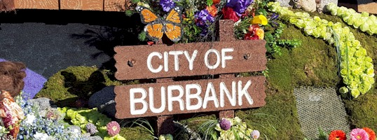 'City of Burbank' sign from the Burbank 2016 Rose Parade Float.