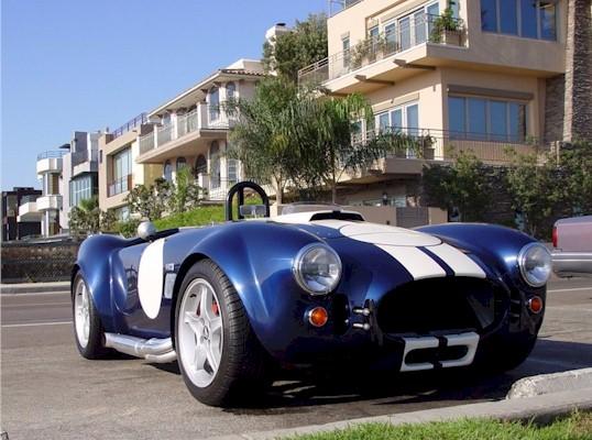 A classic Cobra sportscar in Marina del Rey, California