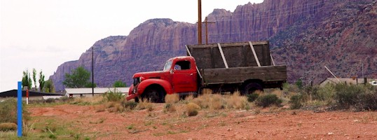 This early 1940's heavy duty Dodge Truck was last licensed for the road in 1972. It now epitomizes the spirit of old Moab, Utah
